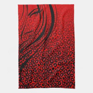 Silhouette Girl   Red Leopard Animal Print Tea Towel