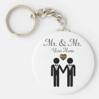 Silhouette Groom and Groom - Tall Basic Round Button Key Ring