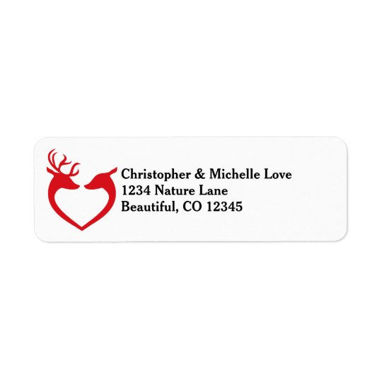 Silhouette Heart Deer Couple Red and Black Address