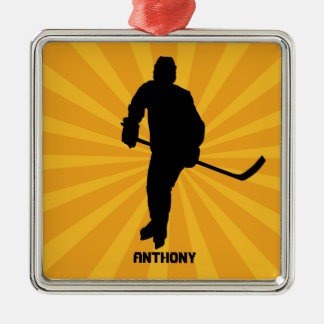 Silhouette Hockey With Yellow Christmas Ornament