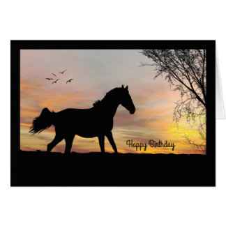 Silhouette Horse w/ Sunset Birthday Card
