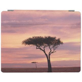 Silhouette image of acacia tree at sunrise iPad cover