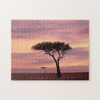 Silhouette image of acacia tree at sunrise jigsaw puzzle