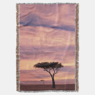 Silhouette image of acacia tree at sunrise throw blanket