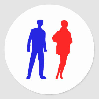 Silhouette man one Mrs. woman Round Stickers