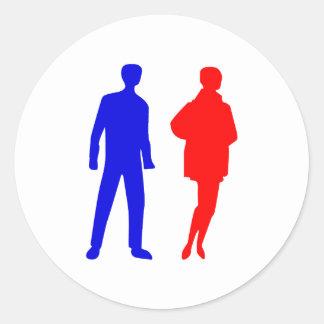 Silhouette Mann man Frau woman Runde Sticker