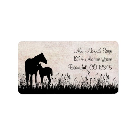 Silhouette Mare and Foal Silhouette Horse Address Address Label