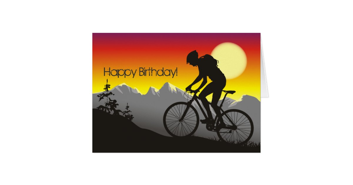Silhouette Mountain Bike Happy Birthday Card – Bicycle Birthday Cards