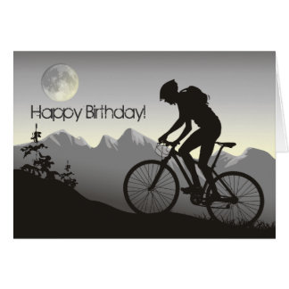 Silhouette Mountain Bike Happy Birthday Greeting Card