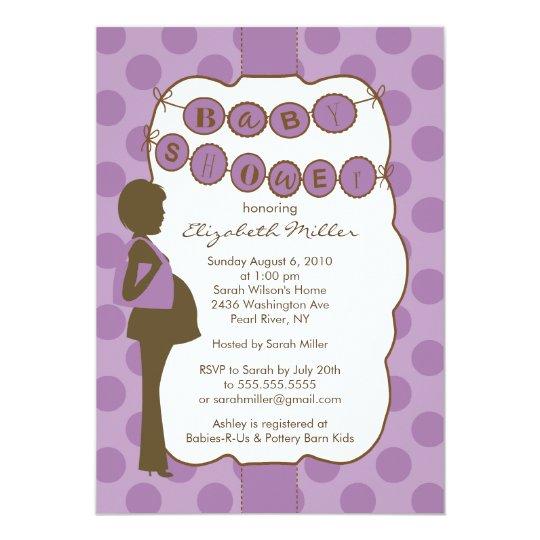 Silhouette Mum Baby Shower Girl Purple Brown Card