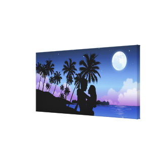 Silhouette of a couple embracing on the beach canvas print