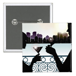 Silhouette of a couple toasting martini glasses 15 cm square badge