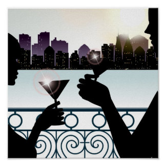 Silhouette of a couple toasting martini glasses poster