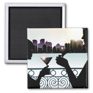 Silhouette of a couple toasting martini glasses square magnet