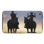 Silhouette of a Cowboy targeting his pistol to a Barely There iPod Covers