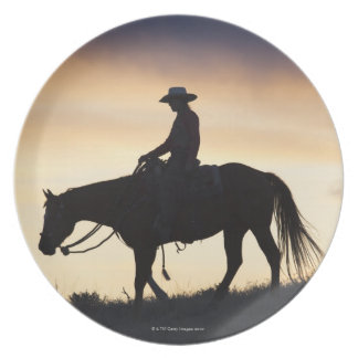 Silhouette of a Cowgirl on her horse against the Plate
