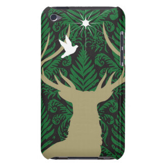 Silhouette of a deer, a dove and a star against a barely there iPod cover
