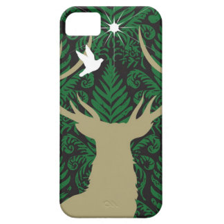 Silhouette of a deer, a dove and a star against a case for the iPhone 5