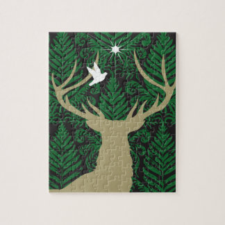 Silhouette of a deer, a dove and a star against a jigsaw puzzle