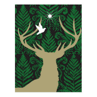 Silhouette of a deer, a dove and a star against a postcard