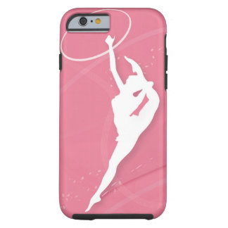 Silhouette of a female gymnast performing with a tough iPhone 6 case