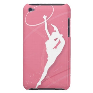 Silhouette of a female gymnast performing with a Case-Mate iPod touch case