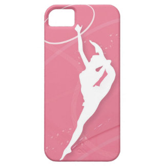 Silhouette of a female gymnast performing with a iPhone 5 covers