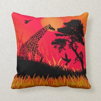 Silhouette of a Giraffe Feeding Cushion
