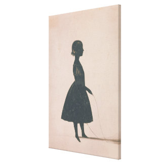 Silhouette of a girl with a skipping rope canvas print