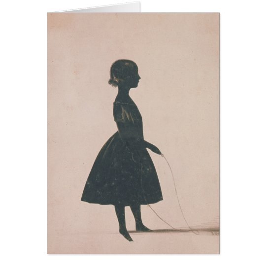 Silhouette of a girl with a skipping rope card