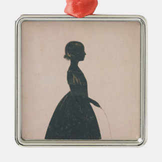 Silhouette of a girl with a skipping rope christmas ornament