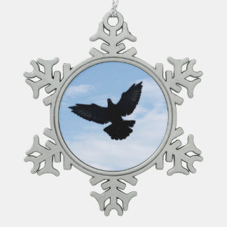 Silhouette of a Homing Pigeon in Flight Ornament