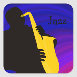 Silhouette of a jazz player, blue & purple sticker