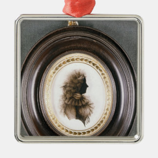 Silhouette of a lady, painted on convex glass christmas ornament