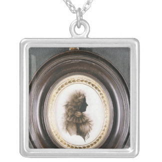 Silhouette of a lady, painted on convex glass silver plated necklace
