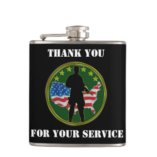 Silhouette of a lone Soldier Hip Flask