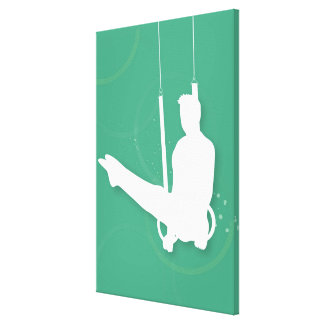 Silhouette of a man performing gymnastics canvas print
