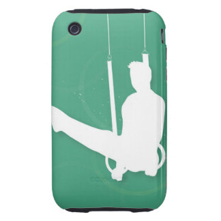 Silhouette of a man performing gymnastics tough iPhone 3 case