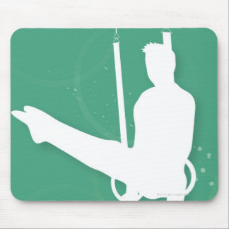 Silhouette of a man performing gymnastics mouse mat