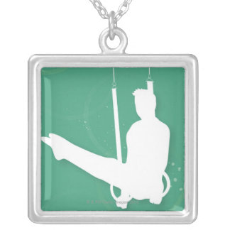 Silhouette of a man performing gymnastics personalized necklace