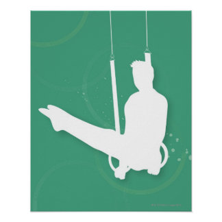 Silhouette of a man performing gymnastics poster