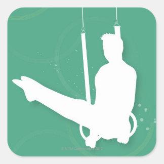 Silhouette of a man performing gymnastics square sticker