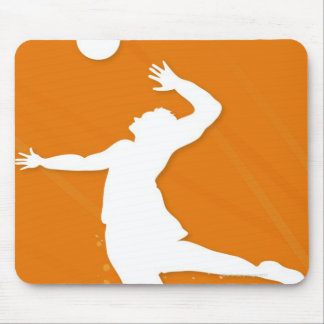 Silhouette of a man playing volleyball mouse mat