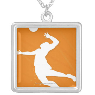 Silhouette of a man playing volleyball custom necklace