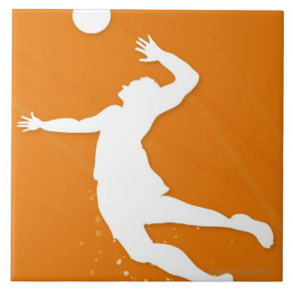 Silhouette of a man playing volleyball tile