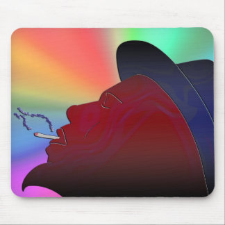 silhouette of a man with a beard smoking mouse pad