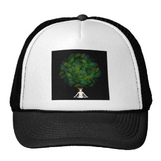 Silhouette of a meditating person or a person cap