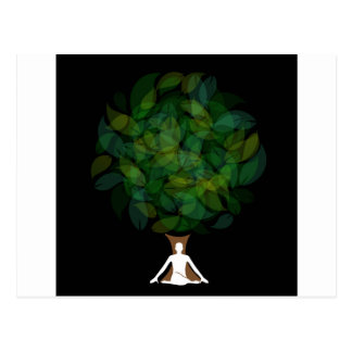 Silhouette of a meditating person or a person postcard