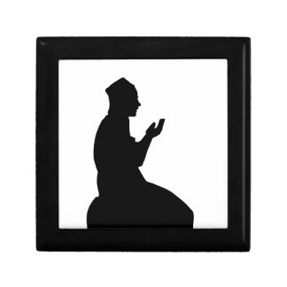 Silhouette of a Muslim praying man Small Square Gift Box