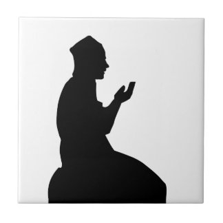 Silhouette of a Muslim praying man Small Square Tile
